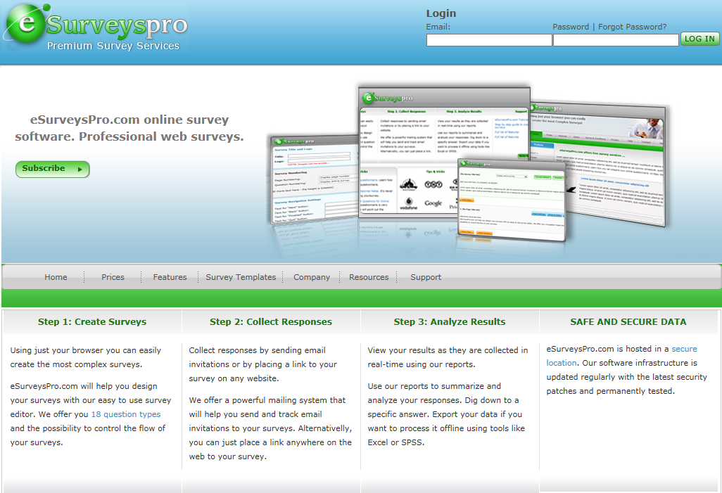eSurveysPro home page